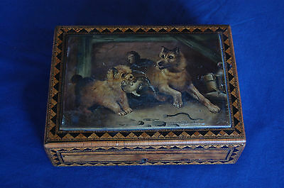 19th Century Painted & Inlaid Wooden Box w/ Dogs Catching Mice