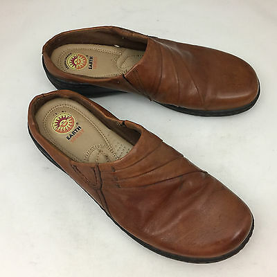 """EARTH SPIRIT """"Jenny"""" Brown Leather Low Slip On Clogs - Size 8"""