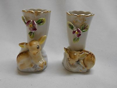 2 adorable little vintage porcelain baby Deer / fawn's miniature vases