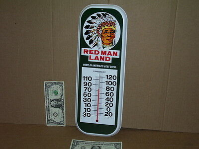 RED MAN Chewing Tobacco THERMOMETER SIGN -Made in USA - INDIAN CHIEF - Wild West