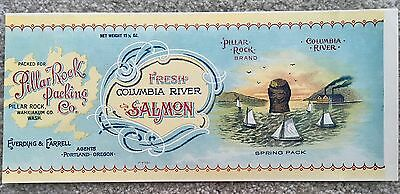 Vintage Pillar Rock Packing Co. Fresh Columbia River Salmon Can Label Advertise