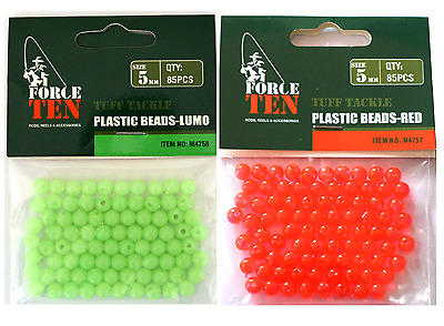 170x Fishing Beads RED & LUMO 5mm HARD ROUND - Fishing Tackle Whiting
