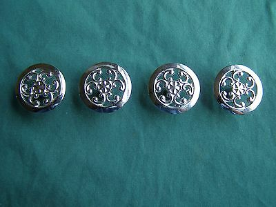 4 Vintage Solid White Brass Cupboard / Drawer Pull Knobs no screws Nice Design