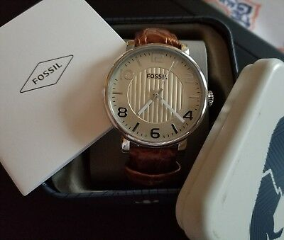 Fossil BQ2249 Mens Flynn 48mm Gold Tone Watch Amazing Brown Leather Band