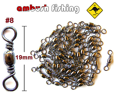 50 BARREL FISHING SWIVELS SIZE #8 / TEST - 20kg black nickel TACKLE BULK whiting