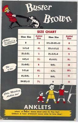 Vintage BUSTER BROWN Size Chart Double Sided Paper Sign