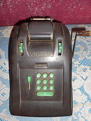 Vintage Victor Bakelite Black With Green Keys Hand Crank Adding Machine