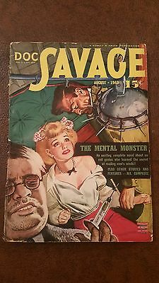 Doc Savage Pulp Magazine August 1943 in Very Good condition.
