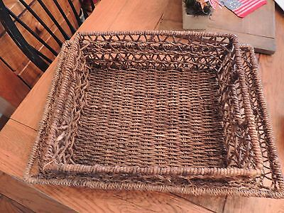 Serving tray baskets Metal wrapped