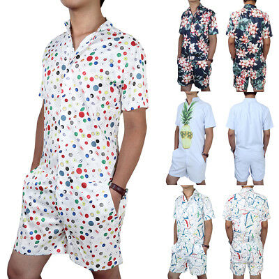 37600fdfb12 Men s Short One Piece Romper Sleeve Street Casual Cargo Pants Jumpsuit  Overalls