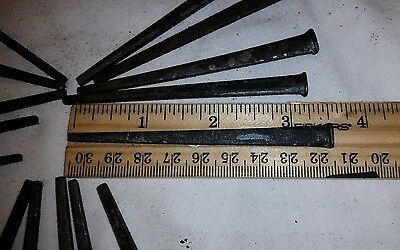 15 Antique 3 1/2 inch, square cut nails hand made unused, in very good condition