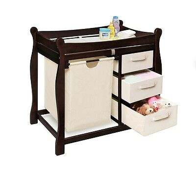 Baby Changing Table Wood Storage Baskets Clothes Hamper Top Pad Sleigh Espresso