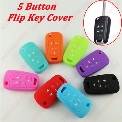 Remote Key Holder Flip Cover Silicone Case Shell 5 Button Fob Fit For Chevrolet