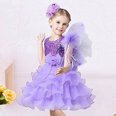 NEW Sequined Flower Girls Tutu Ball Gown Sleeveless Purple Formal Dress Size 2