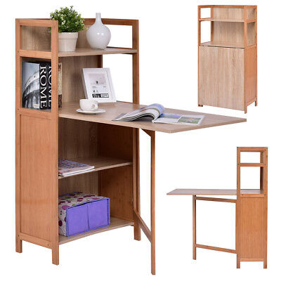 Fold Out Cabinet Folding Desk Convertible Workstation Book Shelf Wood Computer