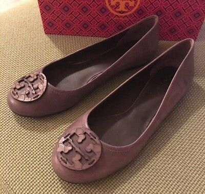 6988276ea4f Tory Burch RARE Taupe Gray Embossed Reva Flats Sz 10.5 Retail  250 SOLD OUT