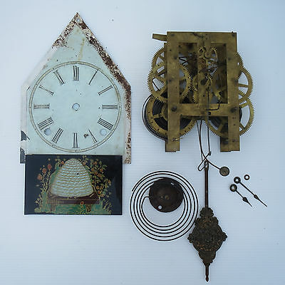 American Welch Clock Movement, Tole Dial, Beehive Glass, Steeple Glass, Pendulum
