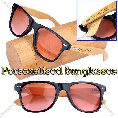 Personalised Engraving Bamboo Wooden 100% UV400 lens Sunglasses Bridesmaid Gift