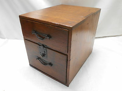 Antique Sugi Wood Office Document Box Drawers C1900s Japanese  #684