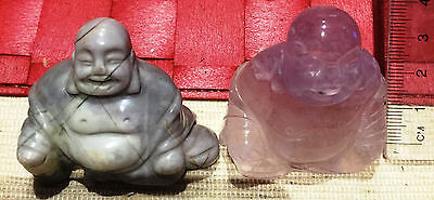 2 crystal buddhas,1.5 inches X 2 inches