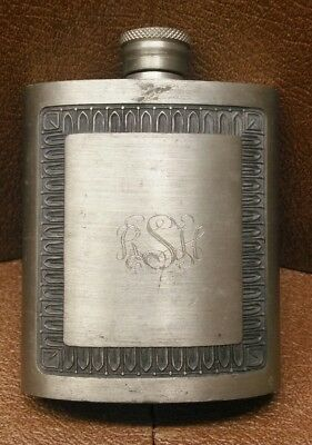 Vintage Pewter Flask Signed SIAM & Nicely Monogrammed RSH Very Detailed