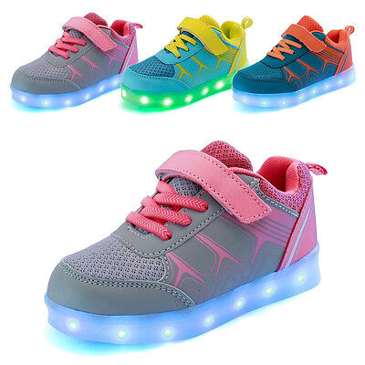 New Kids Boys Girls Casual USB LED Light Up Shoes Children Luminous Sneakers