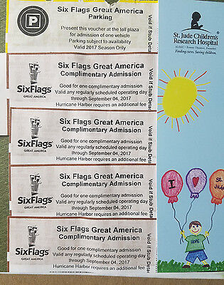 4 pc Six Flags Great America Admission Ticket Day Pass with 1 Parking Illinois