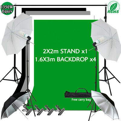 Photo Umbrella Lighting Black White Green Screen Gray Backdrop Light Stand Kit