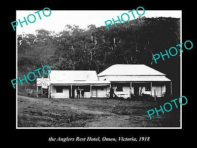 Old Large Historical Photo Of Omeo Victoria, View Of The Anglers Rest Hotel 1918