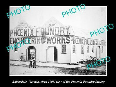 OLD LARGE HISTORIC PHOTO OF BAIRNSDALE VICTORIA, PHOENIX FOUNDRY FACTORY c1905