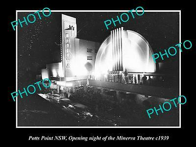 OLD LARGE HISTORIC PHOTO OF POTTS POINT NSW, THE MINERVA THEATRE OPENING c1939