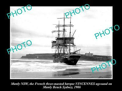 OLD LARGE HISTORIC PHOTO OF MANLY NSW, THE VINCENNES RUN-AGROUND AT MANLY c1906