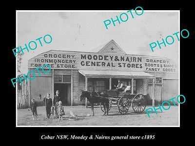 OLD LARGE HISTORICAL PHOTO OF COBAR NSW, MOODEY & NAIRNS GENERAL STORE c1895