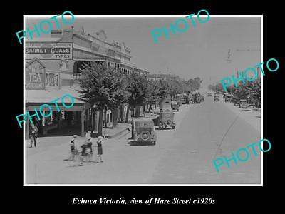 OLD LARGE HISTORIC PHOTO OF ECHUCA VICTORIA, VIEW OF HARE STREET c1920s