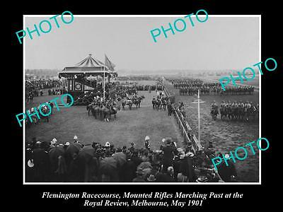 Old Large Historical Photo Of Flemington Race Course , Royal Review March 1901