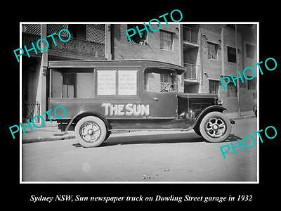 OLD LARGE HISTORIC PHOTO OF SYDNEY NSW, THE SUN NEWSPAPER DELIVERY TRUCK c1930 3