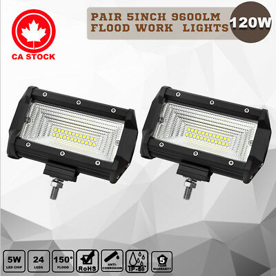 Pair 5inch 120W CREE LED Work Light Bar Flood Beam Offroad Work Driving Lamp
