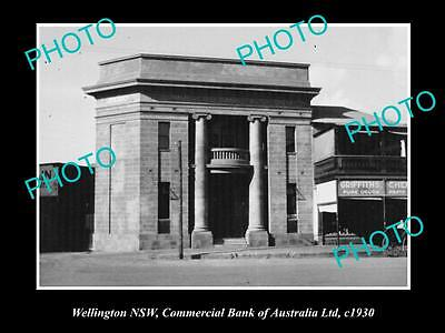 OLD LARGE HISTORIC PHOTO OF WELLINGTON NSW, COMMERCIAL BANK OF AUSTRALIA c1930