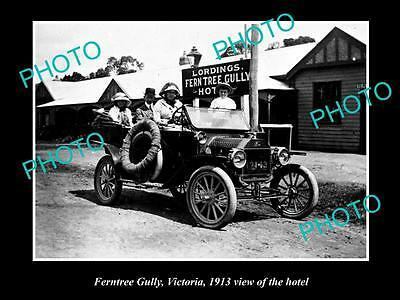 OLD LARGE HISTORIC PHOTO OF FERNTREE GULLY VICTORIA, VIEW OF TOWN HOTEL c1913