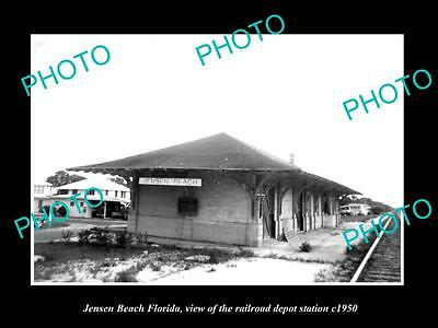 OLD LARGE HISTORIC PHOTO OF JENSEN BEACH FLORIDA, RAILROAD DEPOT STATION c1950