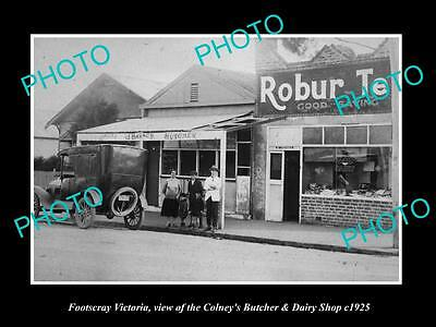 OLD LARGE HISTORIC PHOTO OF FOOTSCRAY VICTORIA, THE COLNEYS BUTCHER SHOP c1925