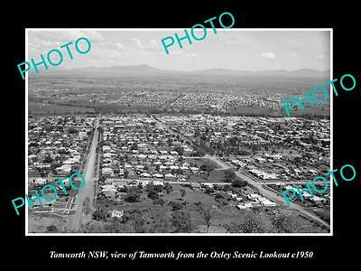 OLD LARGE HISTORIC PHOTO OF TAMWORTH NSW, VIEW OF THE TOWN c1950
