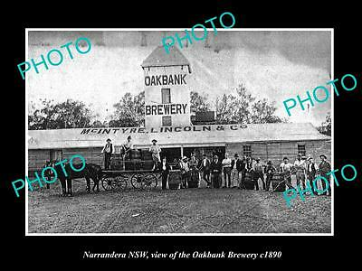 OLD LARGE HISTORIC PHOTO OF NARRANDERA NSW, VIEW OF THE OAKBANK BREWERY c1890