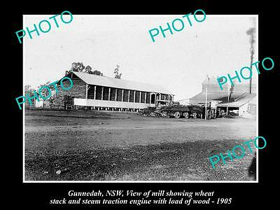 Old Large Historical Photo Of Gunnedah Nsw, The Timber Mill And Wheat Stack 1905