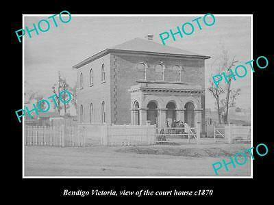 OLD LARGE HISTORIC PHOTO OF BENDIGO VICTORIA, VIEW OF THE COURT HOUSE c1870