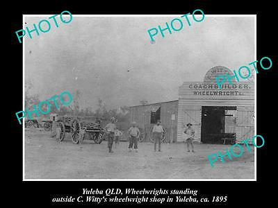OLD LARGE HISTORIC PHOTO OF YULEBA QLD, WHITTY COACH BUILDING FACTORY c1895