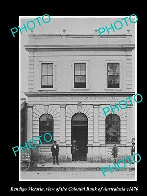 OLD LARGE HISTORIC PHOTO OF BENDIGO VICTORIA, VIEW OF THE COLONIAL BANK c1870