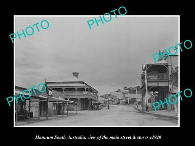 OLD LARGE HISTORIC PHOTO OF MANNUM SOUTH AUSTRALIA, THE MAIN St & STORES c1920