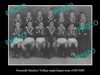 OLD LARGE HISTORICAL PHOTO OF NEWCASTLE NSW, COLLEGE RUGBY LEAGUE TEAM c1949