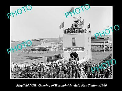 OLD LARGE HISTORICAL PHOTO OF MAYFIELD NSW, OPENING OF THE FIRE STATION c1900
